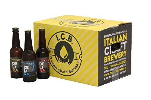 Birra Artigianale Cruda Italiana DELìRA Lager Bionda + Lager Rossa + Weiss - Confezione mix da 24 Bottiglie 33cl - Prodotta da I.C.B. Italian Craft Brewery