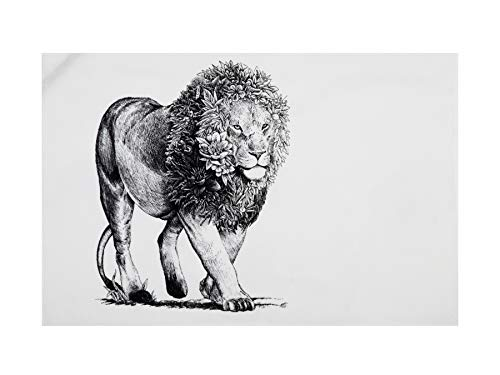 Maxwell & Williams Marini Ferlazzo - Strofinaccio con leone africano, 100% cotone indiano, 50 x 70 cm, colore: Bianco