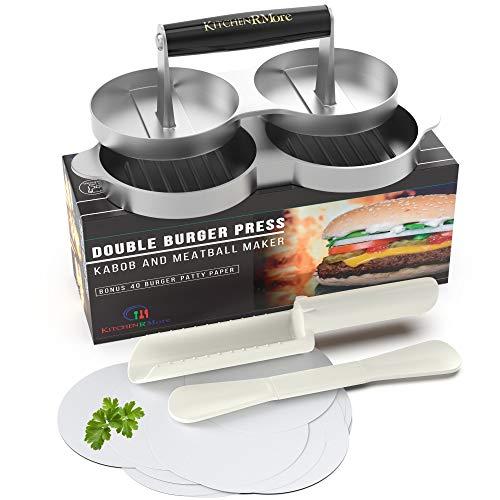 Kitchen RMore Double Burger Press + Kabob Maker + Meatball Shaper + 40 Patty Paper + Recipe EBook   Non-Stick Aluminum Burger Press Patty Maker for Perfect Meat Patties, Veggie Burgers, Beyond Burger