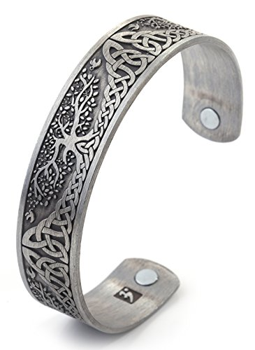 Viking Bracelet for Men Vintage Tree of Life Irish Knotwork Totem Health Care Magnetic Therapy Bangle Cuff Bracelet for Blood Circulation Reduce Stress Reduce Anxiety (Antique Silver)
