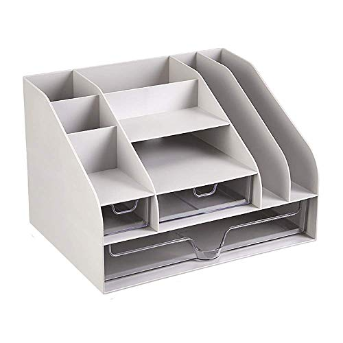 ZHENAO Suministros de Oficina Rack Desktop Caja de Alenamiento Dormitorio Desktop Rack Office Supplies Folder Inforión Bookshelf Paper Storage Box Sket fuerte y robusto/Gray / 31.