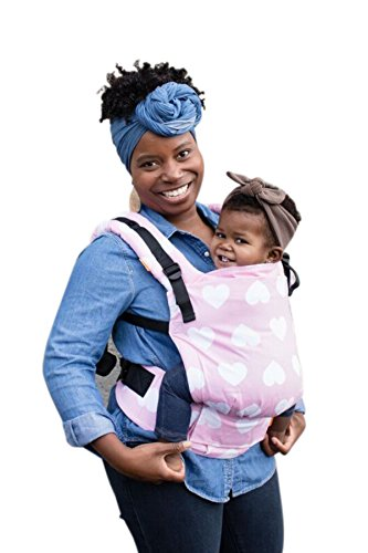 Baby Tula Free-to-Grow Baby Carrier, Adjustable Newborn to Toddler Carrier, Ergonomic and Multiple Positions for 7 – 45 pounds – Love You So Much (Light Pink with White Hearts)