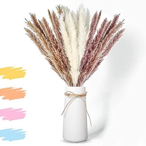 LOMUG Hierba natural de Pampas secadas con 3 flores secas, decoración bohemia, decoración para boda, mesa, casa, baño,...