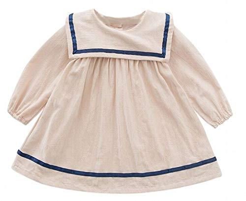 Plus Nao(プラスナオ) ワンピース キッズ ベビー 子供服 こども服 長袖 無地 ボタン セーラー風 セーラー服風 バルーンスリーブ 可愛い 女 ベージュ 90cm