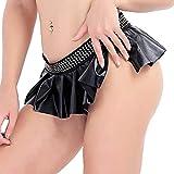 iiniim Damen Minirock Wetlook Bodycon Schwarz Faltenrock Röcke Babydoll Party Clubwear M-XL Schwarz...