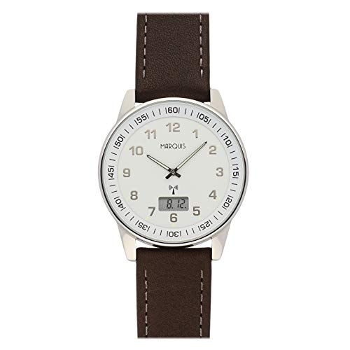 MARQUIS Herren Armbanduhr Funkuhr Braunes Lederarmband mit Edelstahlverschluss Edelstahlgehäuse 6006-213