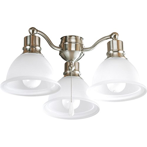 Progress Lighting P2623-09 3-Light Fan Light Kit, Brushed Nickel