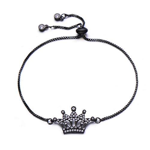 ShFhhwrl Hand Bangle Bracelets Jewellery For Womens Luxury Micro Paved Cubic Zirconia Princess Crown Bracelet Copper Charm Slider