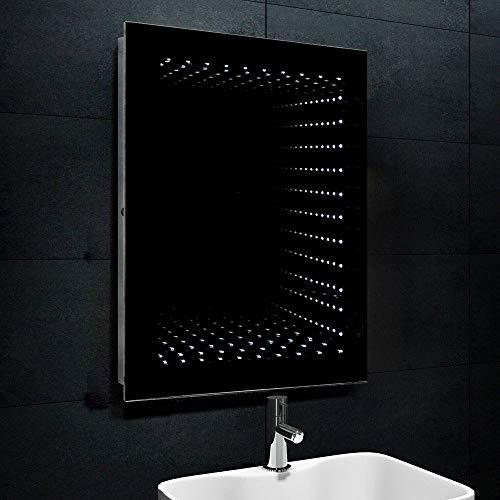 Lux-aqua 3D effect LED-verlichting badkamerspiegel badkamerspiegel gangspiegel wandspiegel 60x80cm FL1243W, zilver, 60 cm x 80 cm x 7 cm