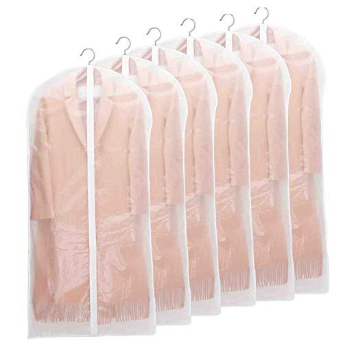 Niviy Kleidersack Lange 6 Stück Hochwertiger Kleidersäcke, Transparent 60x140 cm Atmungsaktiver Stoff, für Anzüge Kleider Mäntel Sakkos Hemden Abendkleider Anzugsack Aufbewahrung