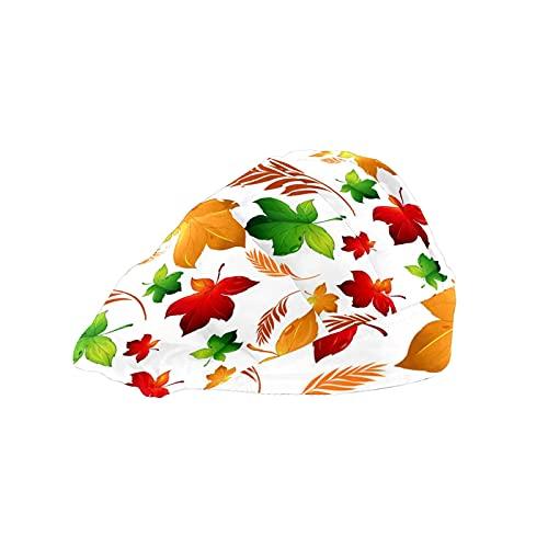 Gorra de mujer para cabello largo de trabajo con banda elástica ajustable para el sudor Gorras de trabajo para hombres Bufanda de cabeza de trabajo 3D Impreso Sombreros Coloridos Arce Oído de Arroz