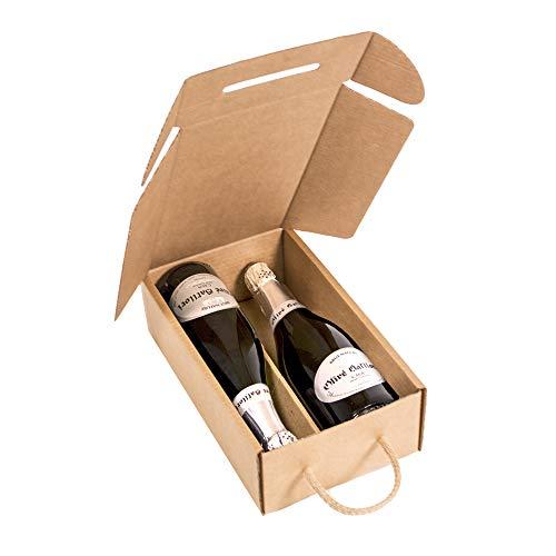 Kartox | Estuche para 2 botellas | Caja de cartón para cava o champagne | Caja de color kraft | 4 unidades