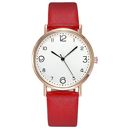 TASGK Aing Store Reloj de aleación de aleación de Cuarzo de Lujo de Las Mujeres Moda de Acero Inoxidable Dial Casual Bracele Reloj Reloj de Pulsera de Cuero (Color : Red)