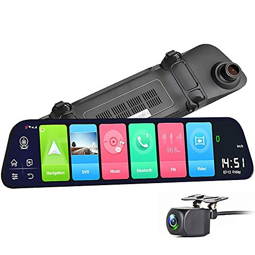 HTQING Cámara Dashcams para Coches Delanteros Y Traseros, 4G GPS Dash Cameras 12'Smart Rearview Mirror 1080P HD Cámara De Marcha Atrás Bluetooth