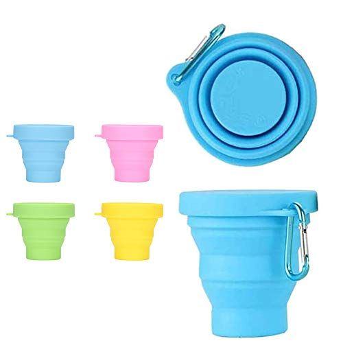 4 Pack Silicone Collapsible Cups Folding Travel Camping Cup with Lids, Colorful Expandable Drinking Mug Sets