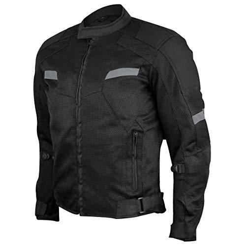 Vance Advance Lightweight Mens All Weather Season CE Armor Mesh Motorcycle Jacket (Black, XL)
