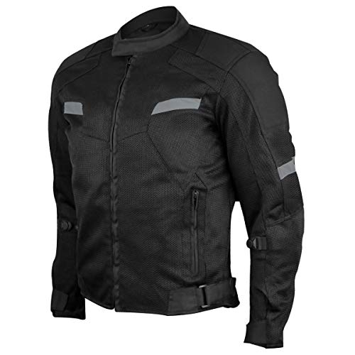 Vance Advance Lightweight Mens All Weather Season CE Armor Mesh Motorcycle Jacket (Black, 3XL)