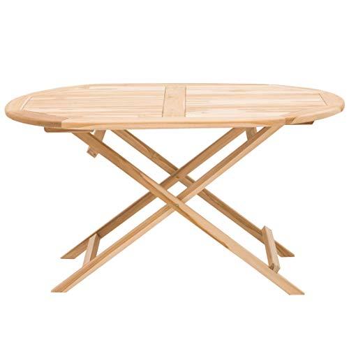 OUTLIV. Seattle Klapptisch Oval 140x90 cm mit Gestell und Tischplatte aus hochwertigem Teakholz, Tischplatte in Teak Recycled, Gestellart: X-Form, Gewicht...