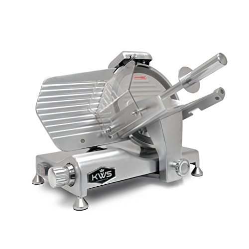 KWS Metal Collection Commercial 320W 10 Inch Meat Slicer MS-10DS Anodized Aluminum Base with Stainless Steel Blade + Blade Removal Tool, Frozen Meat/Cheese/Food Slicer Commercial and Home Use
