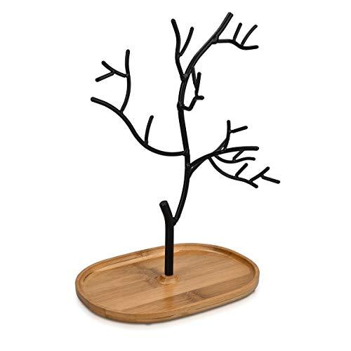 Navaris Schmuckbaum aus Holz und Metall - Schmuckständer für Ketten Ohrringe Ringe - Deko Schmuck Aufbewahrung - Ständer
