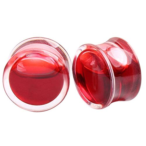1pair líquido del oído Red Blood Medidores de oído de la joyería de acrílico enchufes y los pendientes de los túneles de medidores Piercing Piercing del cuerpo del ampliador ( Metal color : 22mm )
