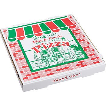 ARV 9204393 20 x 20 in. Corrugated StoreFront Pizza Boxes - White44; Red & Green