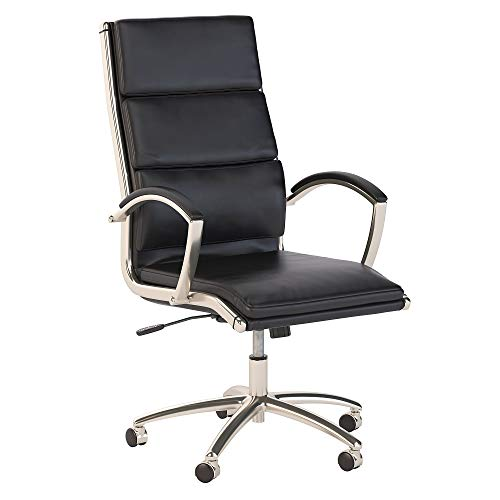 Bush Business Furniture Modelo High Back Leather Executive Office Chair in Black