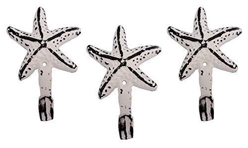 Cast Iron Starfish Wall Hooks, Set of 3