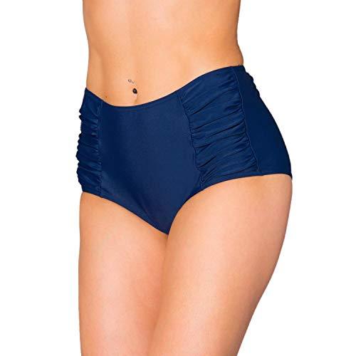 Aquarti Damen Bikinihose mit Hoher Taille und Raffung, Farbe: Dunkelblau, Größe: 42