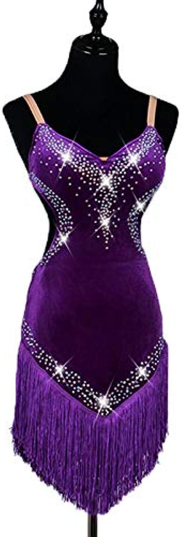 Latin Dance Dresses Women's Performance Corduroy Crystals Rhinestones Tassel Sleeveless High