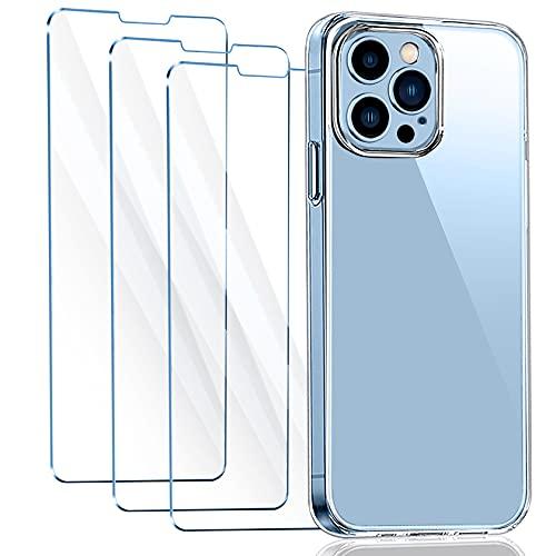 LeathLux Funda Compatible con iPhone 13 Pro, 3 Pack Protector de Pantalla iPhone 13 Pro, Transparente TPU Silicona Funda con Cristal Vidrio Templado y Carcasa iPhone 13 Pro