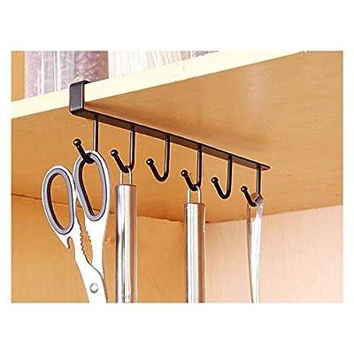 Kitchen Storage Rack Cupboard 6 Hooks Under-Cab...