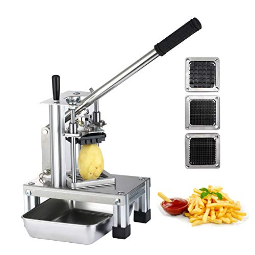 SAYA French Fry Cutter, Commercial Grade Potato Slicer w/Extended Handle & Food Plate, Manual Cutting Machine w/ 304 Stainless Steel Blades of Size 1/4' 1/2' 3/8', Great for Fruits & Vegetables