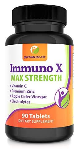 Immuno X Compresse - Pillole Non Capsule Vitamina C, Bisglicinato di Zinco, Aceto di Mele e Miscela di Elettroliti: Sodio, Potassio, Calcio, Magnesio 90 Compresse