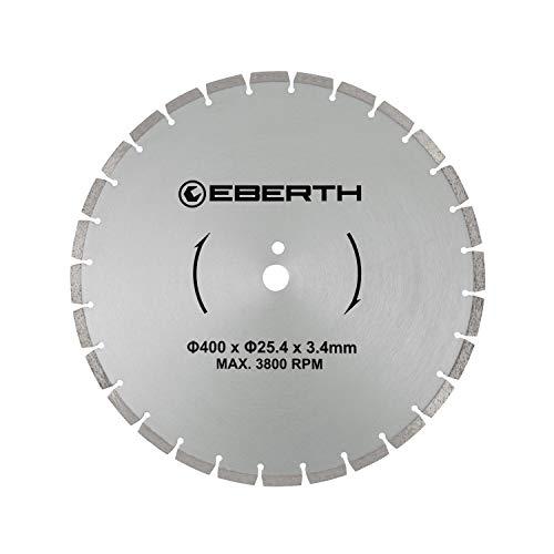 EBERTH Profi Diamanttrennscheibe Diamantscheibe universal Trennscheibe für Nass- und Trockenschnitt (400 mm Durchmesser, Bohrung 25,4 mm, Blattstärke 3,4 mm, U/Min. max. 3800)