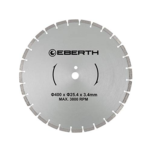EBERTH Disco diamantato dischi diamantati per taglio universale (400mm diametro, diametro interno 25,4mm, larghezza di taglio 3,4mm, giri/minuto max. 3800)