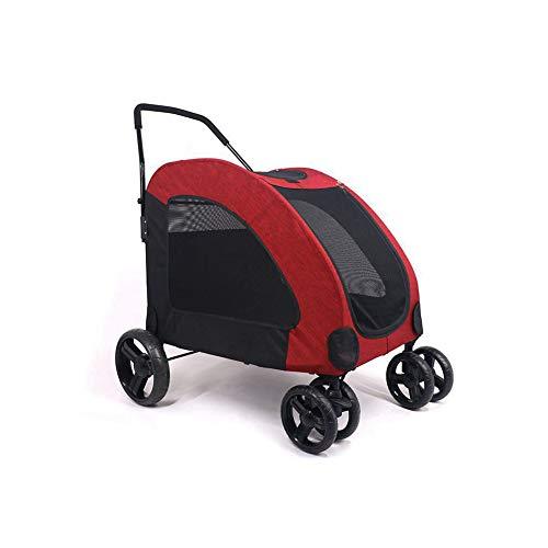 XHPWW Großer Kinderwagen, Faltbarer Kinderwagen für Riesenhunde, biegsamer Kinderwagen für Großhunde Kann gebremst Werden Das Vorderrad kann rot ausgerichtet Werden-red