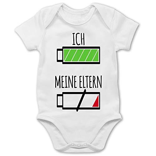 Shirtracer Strampler Motive - Ich und Meine Eltern Batterie - 1/3 Monate - Weiß - Baby Body mit oma und Opa Motiv - BZ10 - Baby Body Kurzarm für Jungen und Mädchen