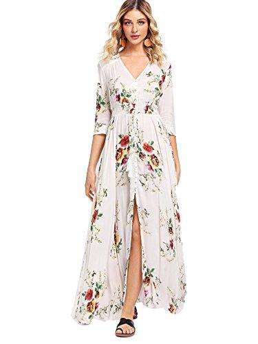 Milumia Women's Button Up Split Floral Print Flowy Party Maxi Dress Medium White-1