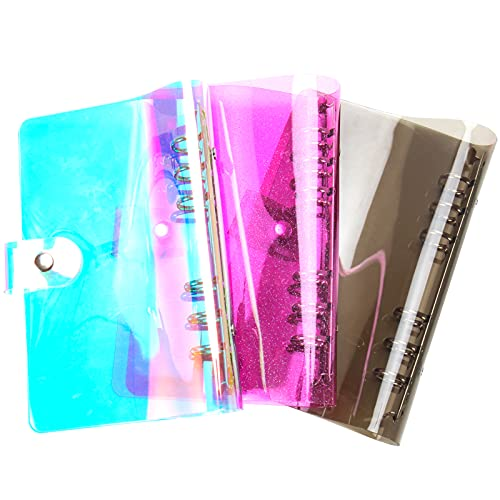 3 Pcs A6 Soft 6-Ring Binder Cover with Glitter, Rainbow PVC Notebook, Clear Transparent Notebook Protector with Snap Button Closure Loose Leaf Folder Binder (Rainbow, Black, Pink)