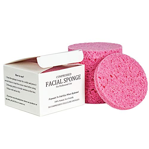 Dynadans Compressed Facial Sponges Face Sponge Cleaning Pads Reusable,Cellulose Spa Sponges for Facial Washing,Exfoliating,Makeup Removal(50 Count/Pink)