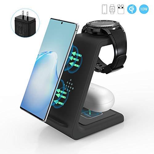 ZHIKE Cargador inalámbrico, 3 en 1 10 W de Carga rápida certificada Qi, Compatible con iPhone 11 Series/XS/XR/X/7/8 Plus, Huawei, Samsung S10/S10+, Xiaomi Phone, Airpods, Galaxy Watch y Buds