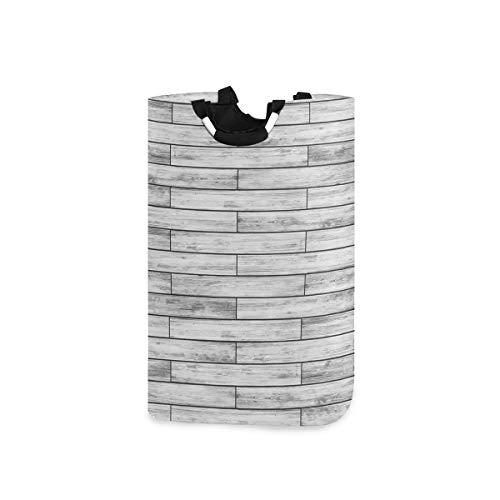 NOLYXICI Wäschesack Rustikaler Parkett-Holz-Retro-Druck Großer Faltbarer Wäschekorb,zusammenklappbarer Wäschekorb,zusammenklappbarer Waschvorratsbehälter