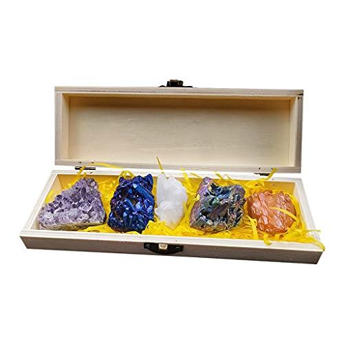 Milageto Mixed Crystal Stones Heal Stone Decoration Amethyst Clear Quartz Gift Box Gemstones