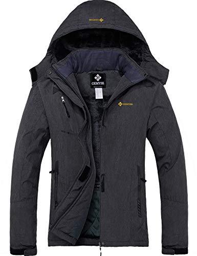 GEMYSE wasserdichte Berg-Skijacke für Frauen Winddichte Fleece Outdoor-Winterjacke mit Kapuze