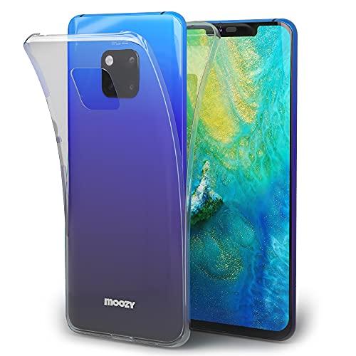 Moozy 360 Grad Hülle für Huawei Mate 20 Pro - Vorne & Hinten Transparenter TPU Ultra Dünne Weiche Silikon Handyhülle Hülle