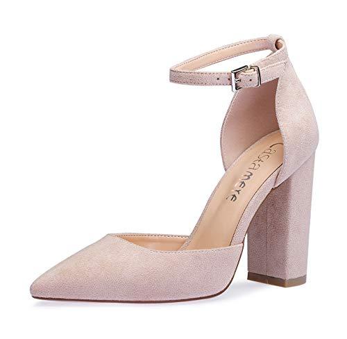 CASTAMERE Damen Ankle-Strap Sandalen Spitzen Zehen Rechteckig Blockabsatz Pumps 10CM Pink Wildleder Schuhe EU 41