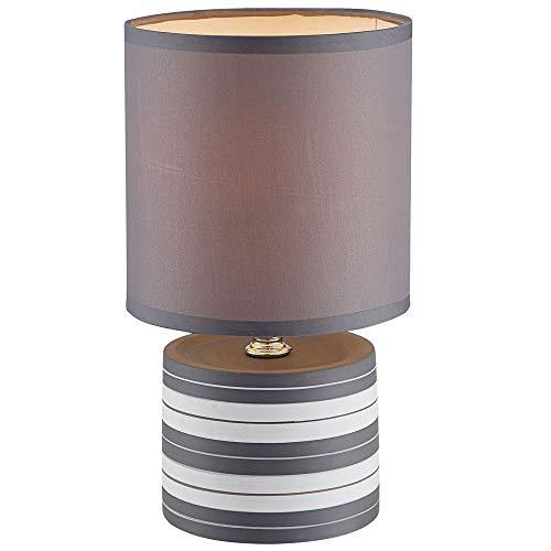 Design Nacht Schreib Tisch Lampe Wohn Arbeits Zimmer Keramik Leuchte Textil grau weiß Globo 21660