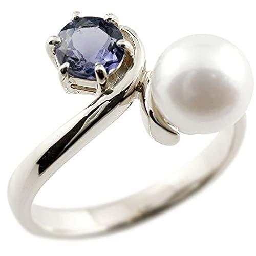 [アトラス]Atrus リング レディース pt900 プラチナ900 アイオライト 真珠 フォーマル 指輪 エンゲージリング 宝石 22号