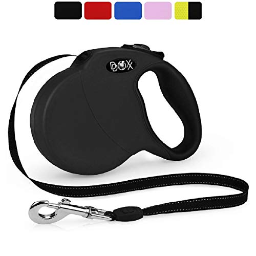 DDOXX Roll-Leine reflektierend, ausziehbar | viele Farben & Größen | für kleine & große Hunde | Gurt-Leine Hundeleine einziehbar Welpe Katze | Hundeleinen Zubehör Hund | M, 5 m, bis 20 kg, Schwarz